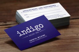Indigo Salon and Spa business cards in Janesville wi