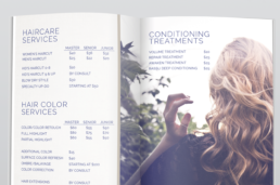 Salon and Spa Services Menu Design